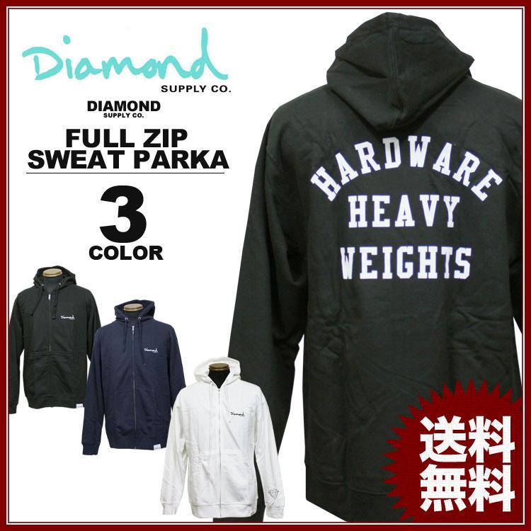 ダイヤモンドサプライ Diamond SUPPLY CO. スエット フルジップ パーカ パーカー HEAVYWEIGHTS FULL ZIP SWEAT PARKA メンズ レディース 黒 ブラック ネイビー 白 ホワイト メンズ レディース