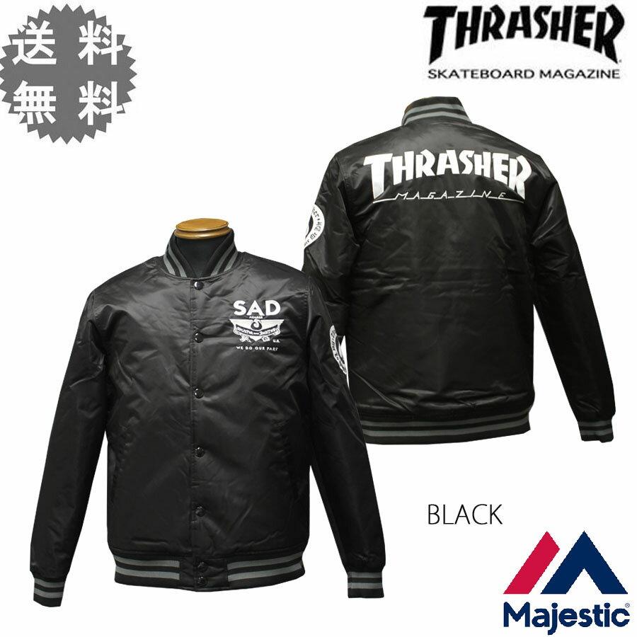 【SALE】 送料無料 スラッシャー THRASHER ジャケット JACKET ブラック 黒 メンズ Majestic ATHLETIC PADDED SATIN スラッシャー×マジェスティック スタジアム