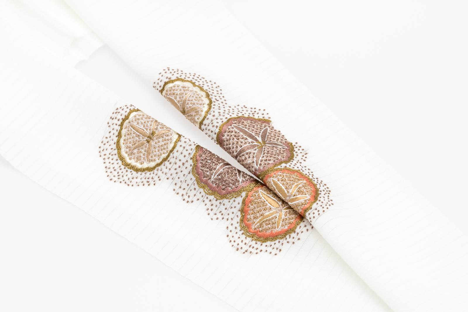 夏 半襟 絽 半衿 手刺繍 絹100% パールトーン加工済【 朝顔(白)絽塩瀬】