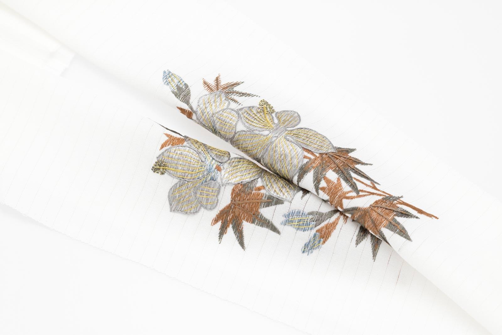 夏 半襟 絽 半衿 手刺繍 絹100% パールトーン加工済【 葵 (白)絽塩瀬】