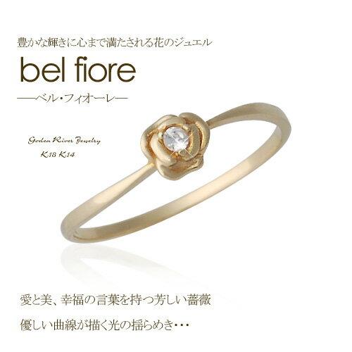 K18/K14 bel fioreベル・フィオーレリング ゴールドローズフラワー薔薇 極細リング 18金 14金