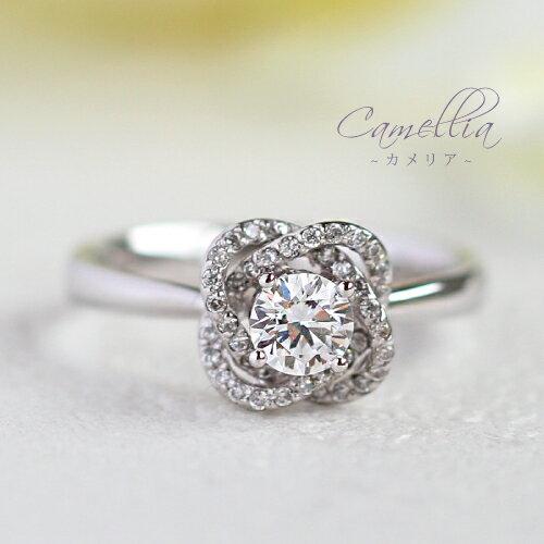 【送料無料】Camellia-カメリア- 0.62ct ダイヤモンドリング 椿の花 白椿 リング K18 18金