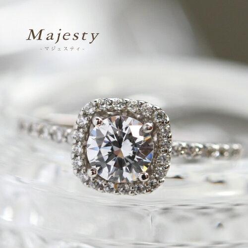 【送料無料】Majesty-マジェスティ- 0.75ct ダイヤモンドリング スクエア リング 指輪 18金 K18
