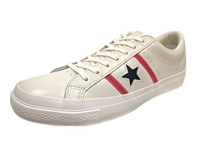 CONVERSE コンバース  STAR & BARS LEATHER スター&バーズ レザー WHITE/RED/NAVY スニーカー
