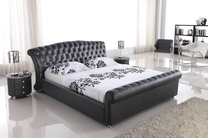 高級天然本革使用・高級ベッド(マットレス別売)