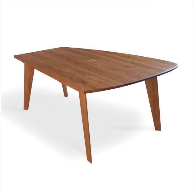 ・変型 ダイニングテーブル 155×110・ホワイトオーク ワックス仕上げ・シンプルモダン北欧デザイン ・ダイニンググテーブル、食卓・変型 丸 長方形・国産 日本製 高品質・開梱設置サービス付随
