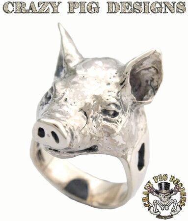 クレイジーピッグ 「直接取引実績20年」 リング 指輪 / CRAZYPIG スモールピッグヘッドリング 【 CRAZY PIG 正規品 指輪 リング メンズ リング レディース おしゃれ JAS刻印 】