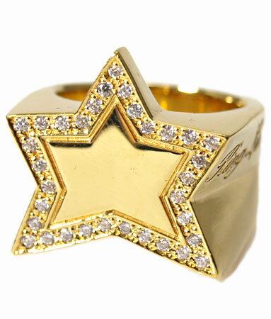 送料無料 K18ゴールドプレートリング 指輪 / キングリモ リング / キング スター K18ゴールドプレート w/パヴェCZ リング 【 指輪 メンズ レディース リング おしゃれ 18k 】