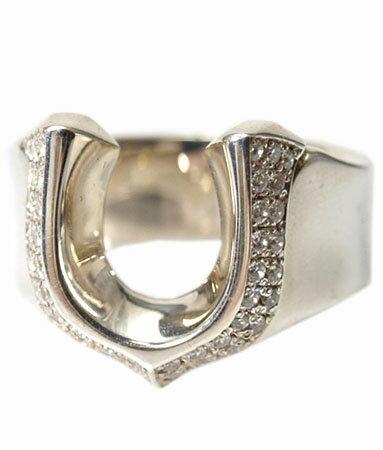 送料無料 シルバー925 リング 指輪 / キングリモ リング / ハイ ローラー w/パヴェCZ リング 【 ホースシュー 馬蹄 指輪 メンズ レディース リング おしゃれ 】