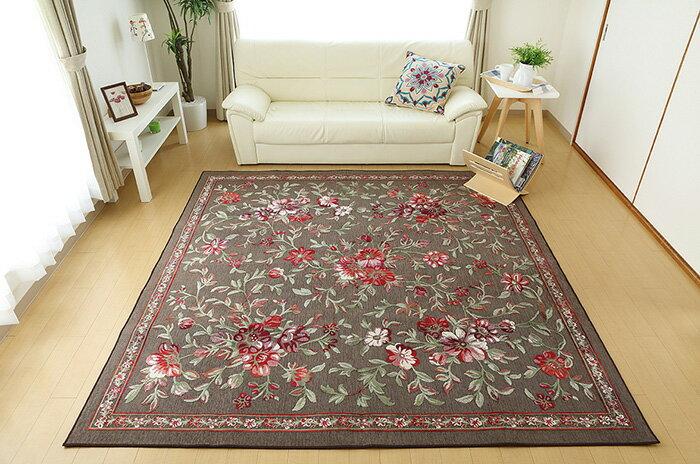 【送料無料】立体花柄 ベルギー製モケット織りカーペット 【200x200cm】