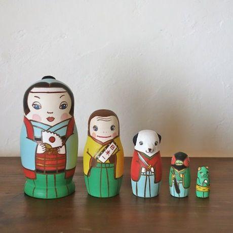 KIMURA&Co.より愛をこめて手作りマトリョーシカ『桃太郎』中5個組 11cm受注生産品【マトリョーシカ】