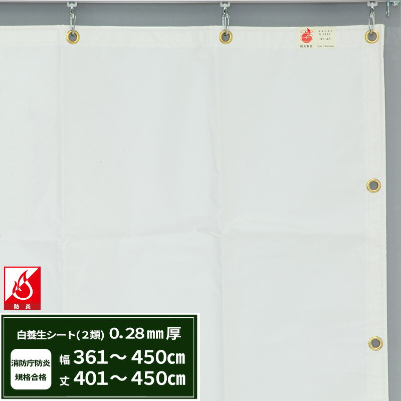[全品ポイント2倍中!]エステル防炎2類 建築白養生シート〈0.28mmt〉優れた耐候性・防水性で雨よけ、日覆いなどの野積みシート、テント、カバーとしても最適【FT12】/幅361~450cm 丈401~450cm/《約10日後出荷》