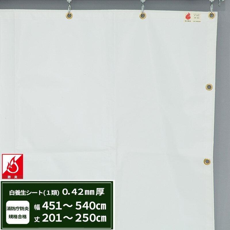 [全品ポイント2倍中!]エステル防炎1類 建築白養生シート〈0.42mmt〉優れた耐候性・防水性で雨よけ、日覆いなどの野積みシート、テント、カバーとしても最適【FT13】/幅451~540cm   丈201~250cm/《約10日後出荷》
