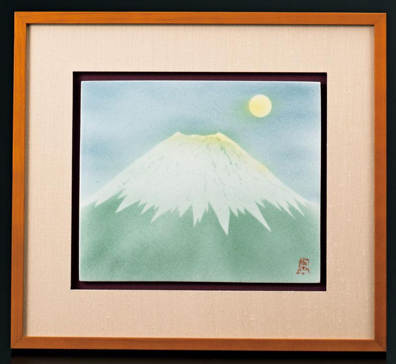 パネル 世界遺産 富士山 九谷焼  (中村陶志人) 陶額 月見富士  ap4-4014