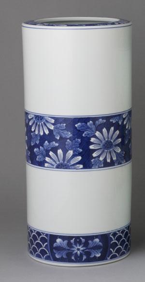 傘立て 陶器 有田焼 傘立15寸 染付菊詰  Y401-C