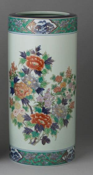 傘立て 陶器 有田焼 15寸傘立 緑彩花絵  Y402-C