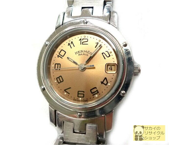 エルメス HERMES レディース腕時計 クリッパー SS クオーツ サーモンピンク文字盤 【中古】