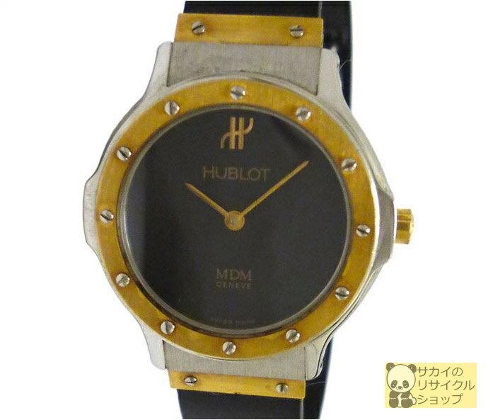 HUBLOT ウブロ レディース腕時計 クラシックコンパートメント MDM SS×YG×ラバー クオーツ ブラック文字盤【中古】