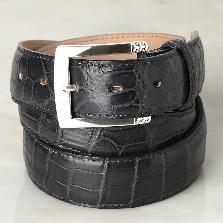LEON掲載商品 QuattroGatti/クアトロガッティ クロコダイル メンズ ベルト 35mm イタリア製バックル ダークグレー 【ワニ革】【日本製】【送料無料】【ラッピング無料】