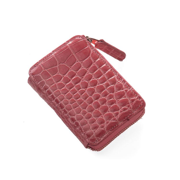 クロコダイル L字ファスナー �銭入れ シャイニング加工 / レディース / 日本製 �ーンドピンク 桃色