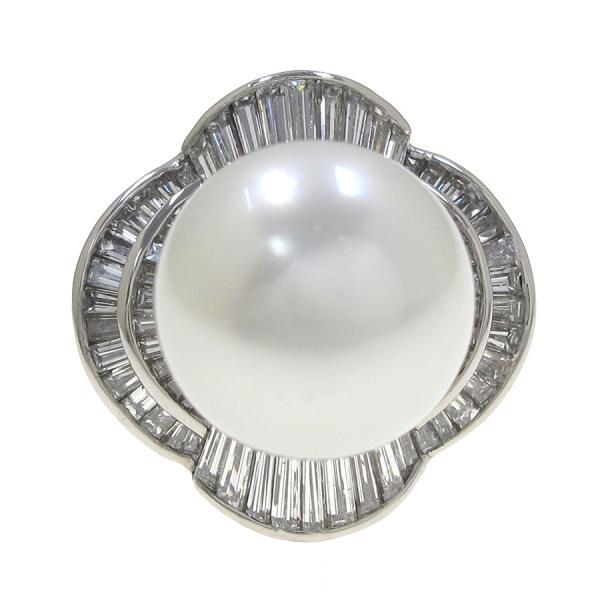 【送料無料】【中古】 Pt900シロチョウパールダイヤリング#19 【無料ギフトラッピング】【Aランク】