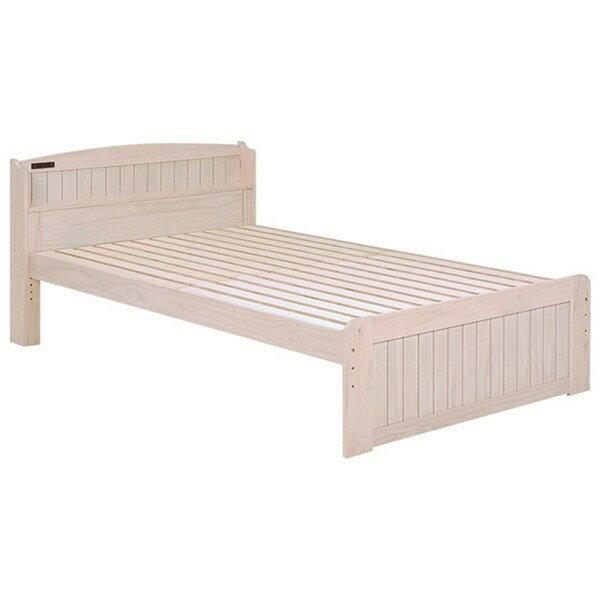 木製すのこベッド スノコ床板ベットフレーム マットなし セミダブルサイズ ヘッドボード付 ウォッシュホワイト色