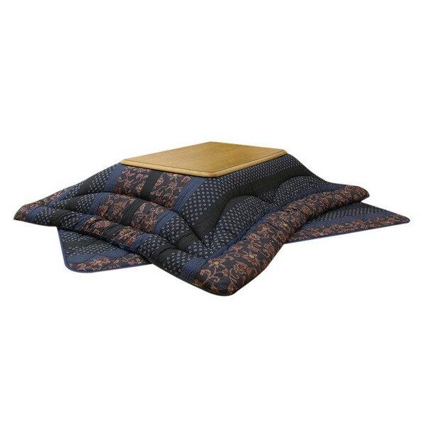 国産大判長方形こたつ布団厚掛敷セット 210巾こたつ用 万葉 ブルー色