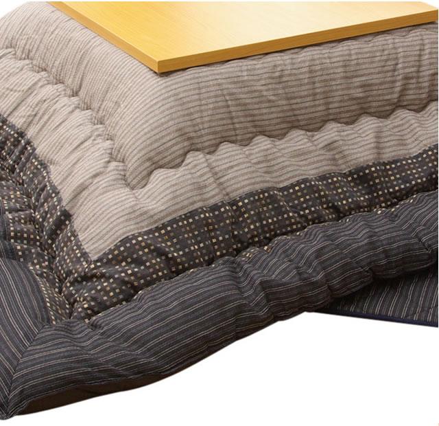 長方形こたつ厚掛敷布団セット ~120センチ巾長方形こたつ用 ブラック系色(掛布団サイズ:205×245)