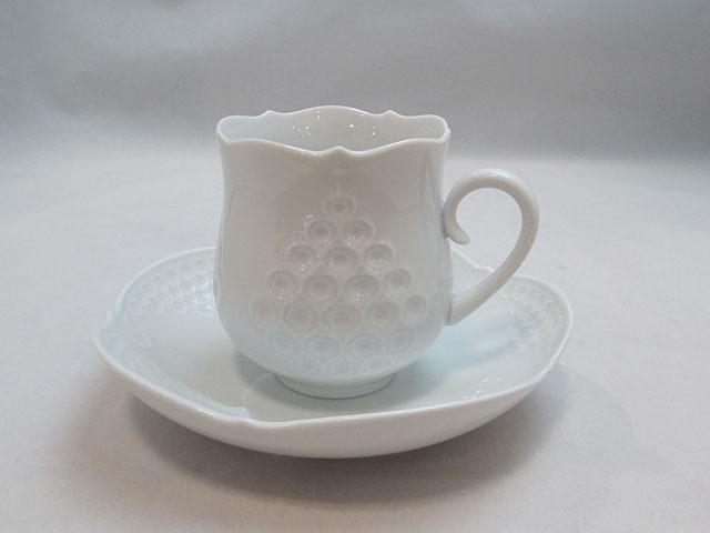 【マイセン】ホワイトレリーフコーヒーカップ&ソーサー 【新品】