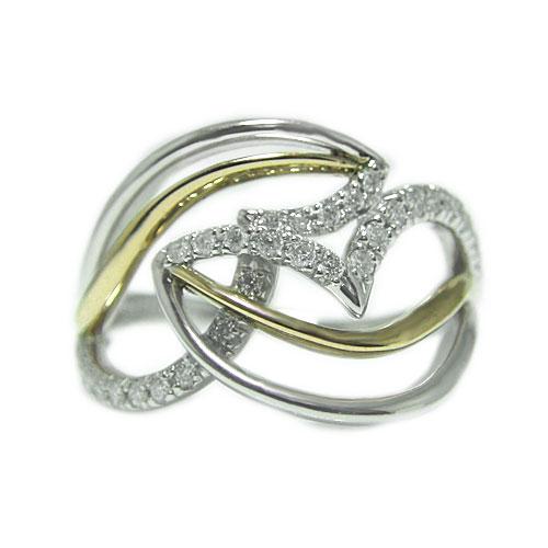 PT900プラチナ/K18イエローゴールド リング ダイヤ コンビ 人差し指 中指 大振り ボリューム 指輪 天然石