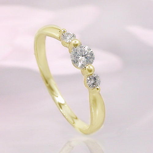 K18イエローゴールド ダイヤ リング 一粒石 ピンキー シンプル 指輪