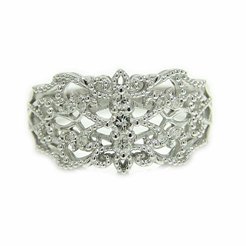 PT900 プラチナ ダイヤモンド アンティーク ミル打ち 透かし リング 指輪