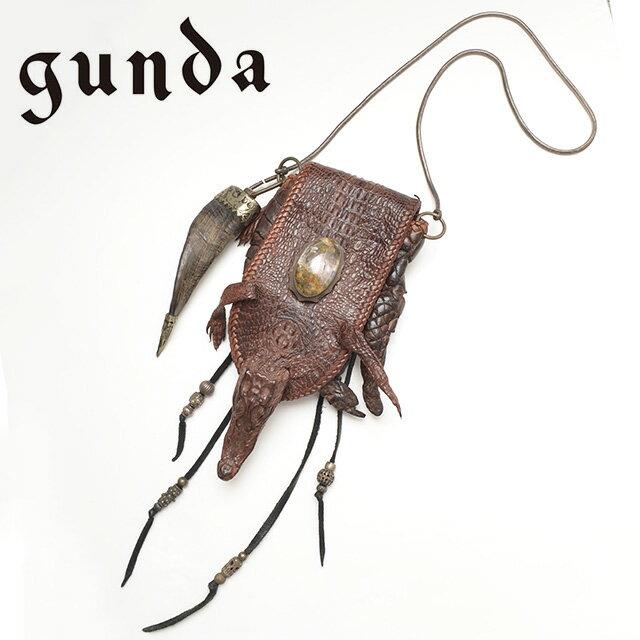 【gunda】 ガンダ ポーチ ショルダーポーチ ワニ UNISEX ユニセックス 【送料無料】 【返品・交換不可】