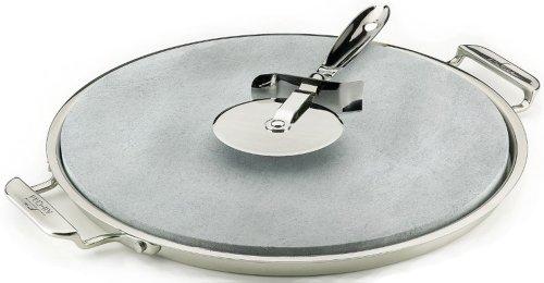 【送料無料】【All-Clad 00280 Stainless Steel Serving Tray with 13-inch Pizza-Baker Stone Insert and Pizza Cutter  Silver by All-Clad】