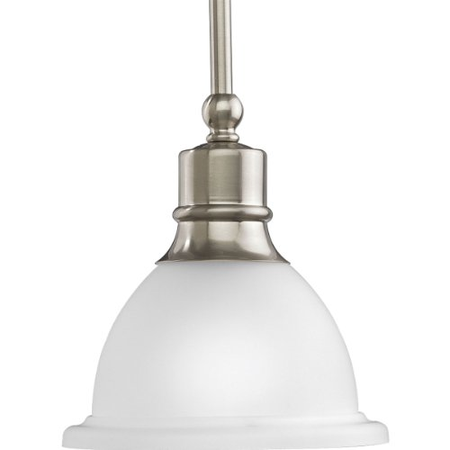 【Progress Lighting P5078-09 1-Light Stem-Hung Mini-Pendant with White Etched Glass  Brushed Nickel by Progress Lighting】     b0014hg66k