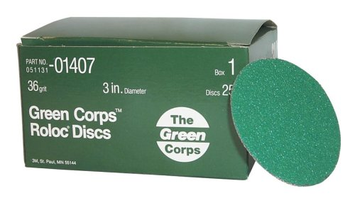 【送料無料】【3M 1407 3-36-Gr Green Corps Roloc Disc #44; 3 in. 36Yf #44; 25 Discs per Box】     b00186ewf4