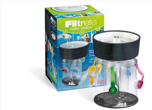 【送料無料】【Filtrete 4-Bottle Water Station with Multicolored Bottle Tops  Black by Filtrete】     b008yb570k