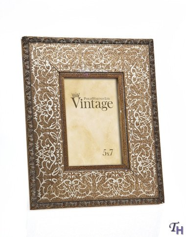 【送料無料】【Philip Whitney 5x7 Rugged Vintage Wooden Gold Scroll Picture Photo Frame Standing Vertical or Horizontal by Philip Whitney】     b00adyvtks