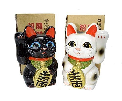 【送料無料】【招き猫 4号 白黒ペア猫 常滑焼】     b00hiuv5tu