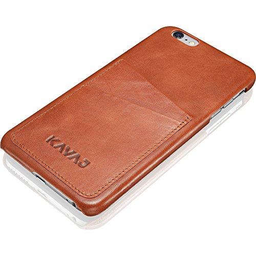 【送料無料】【KAVAJ iPhone 6(5.5インチ)用レザーケースバックカバー「トウキョウ」コニャックブラウン - 本革張りハードバックカバー、名刺入れ付き】     b00lzr0x7c