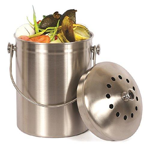 【送料無料】【Estilo Stainless Steel Compost Pail  1 Gallon Compost Bin  2 Free Odor Absorbing Filters Included by Estilo】     b00w86car0