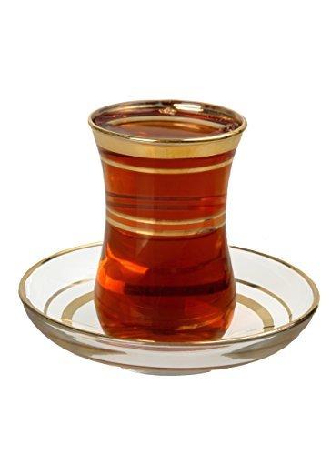 【送料無料】【Turkish Tea Glasses   Saucers Set - Gold Trim Design (12 Pc) by Pasabahce】     b01b4037bi