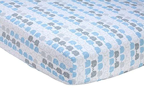 【Zutanoエレファントブラウベビーベッドシート、ホワイト/ブルー/グレー、52  ×28 ×8  】     b01gcd9ku4