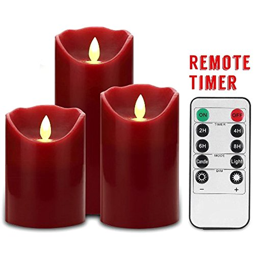 【Honeyall Flameless Candles 4 5 6 Set  3 Burgundy Color Real Wax Pillars LED Candles include Realistic Dancing LED Flames and 10-key Remote Control with 24-hour Timer by Honeyall】     b01j5jtfzm