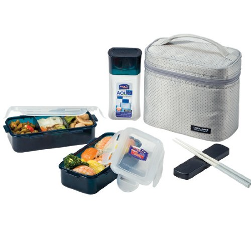 【Lock&Lock Lunch Box Set with Gray Bag and Water Bottle by LockandLock】     b0054pgy24
