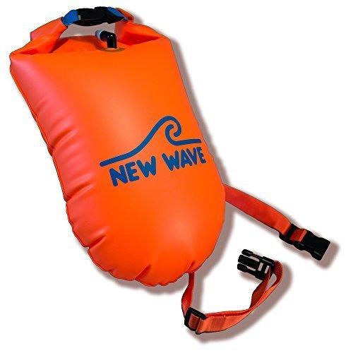 【New Wave Swim Buoy 海での水泳やトライアスロン選手に nbsp; ndash; nbsp;軽量で見えやすい浮き輪 トレーニングやレースの安全に (オレンジTPU 製 Lサイズ-20L )】     b0155lfcu6