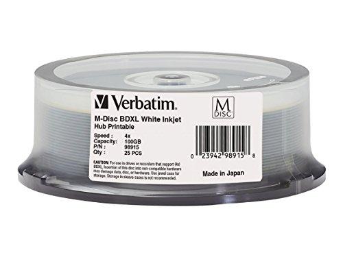 【送料無料】【Verbatim M-Disc - 25 x BD-R - 100 GB 4x - ink jet printable surface  printable inner hub - spindle】     b017h13d62
