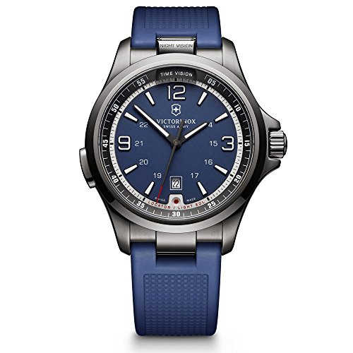 【Victorinox Men 's ' Night Vision ' Swiss Quartzステンレススチールand Rubber Casual Watch   Color : Blue ( Model : 241707?)】     b017upcowo