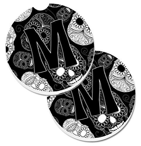 【Caroline 's Treasures Letter M Day of the Dead Skullsブラック2カップホルダー車コースターのセットcj2008-mcarc、2.56、マルチカラー】     b01mg5n0du