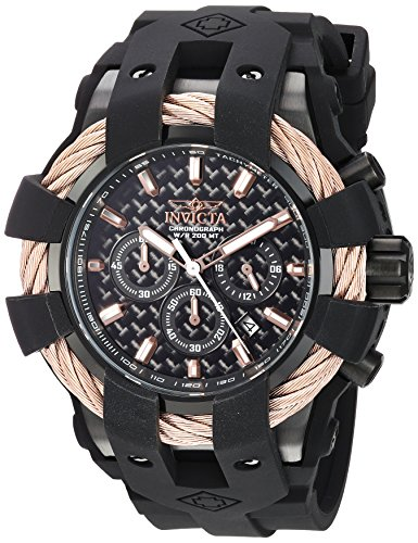 【Invicta Men's 'Bolt' Quartz Stainless Steel and Silicone Casual Watch Color:Black (Model: 23867)】